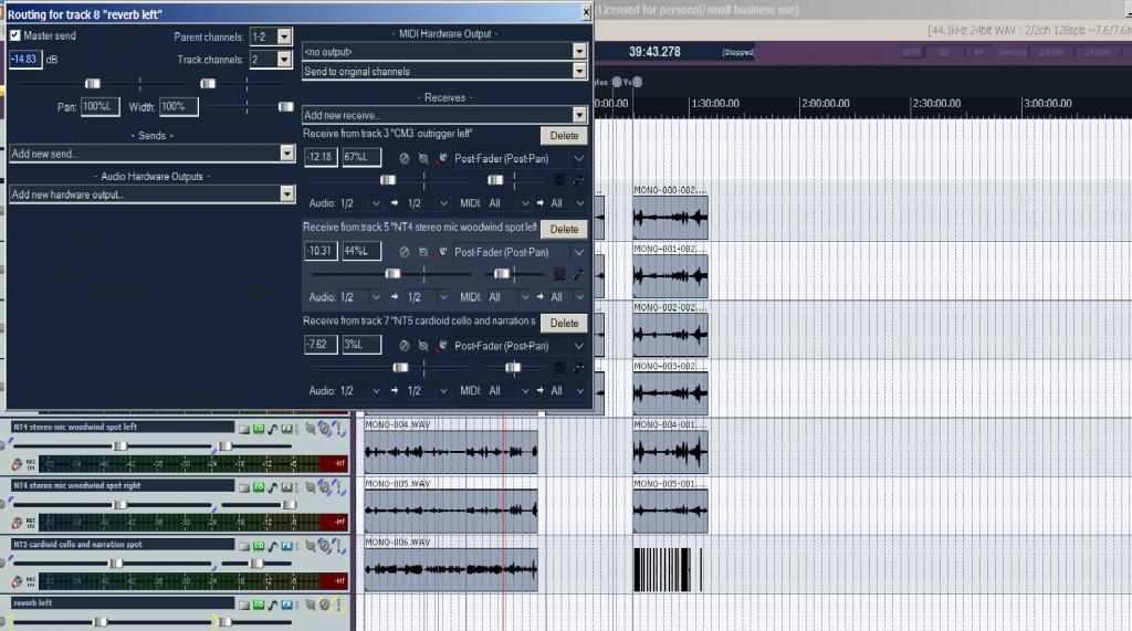 seeking help from Reaper users: mixing using effects in