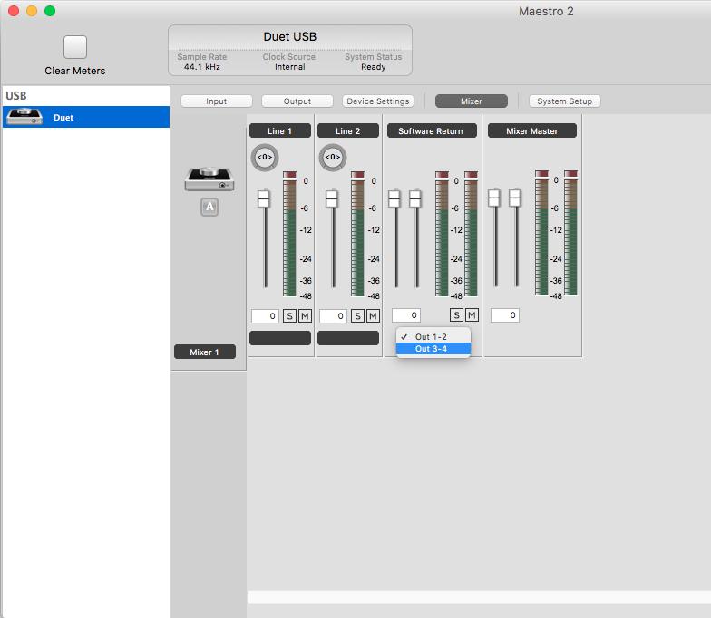 Boss pedal as send effect in Logic Pro X via Apoge Duet 2