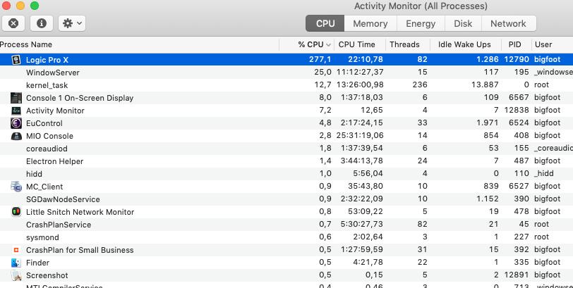 Logic X very high CPU - Gearslutz