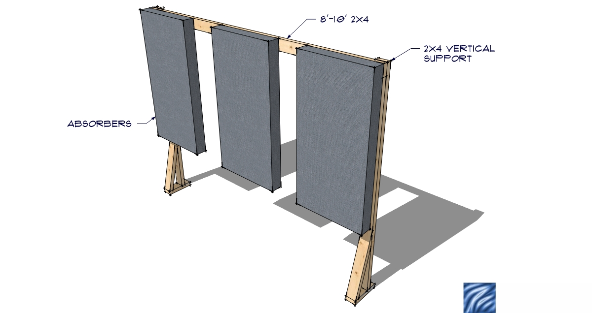 Mounting bass traps and panels to unpainted brick walls in