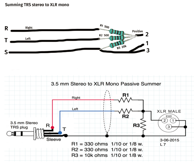 Trs Stereo To Xlr Mono Summing Cable