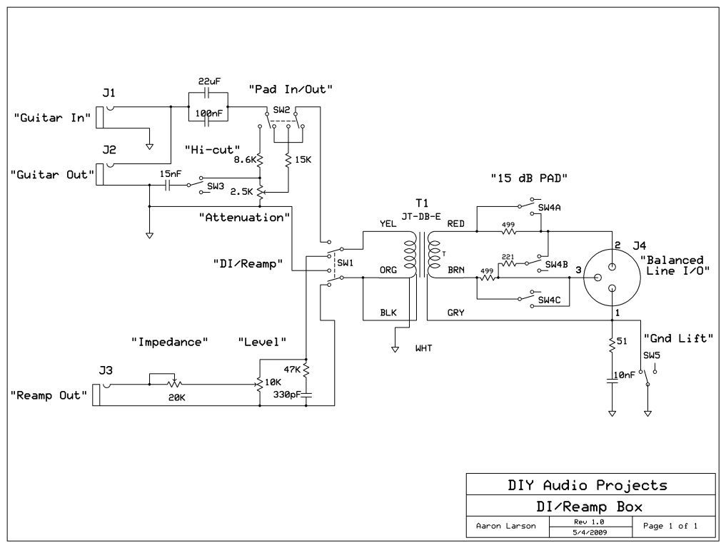 slutty diy di reamp box gearslutz pro audio community. Black Bedroom Furniture Sets. Home Design Ideas