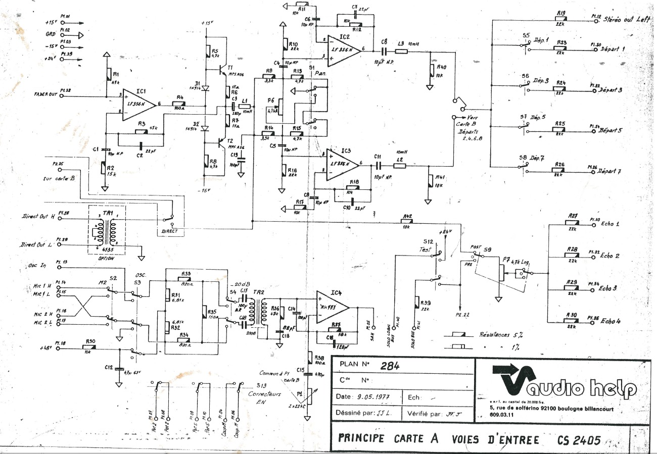 Input Module With Lf356s Advices Gearslutz Lm741 The 741 Op Amp Is Used As A Summing Amplifier To Combine Several