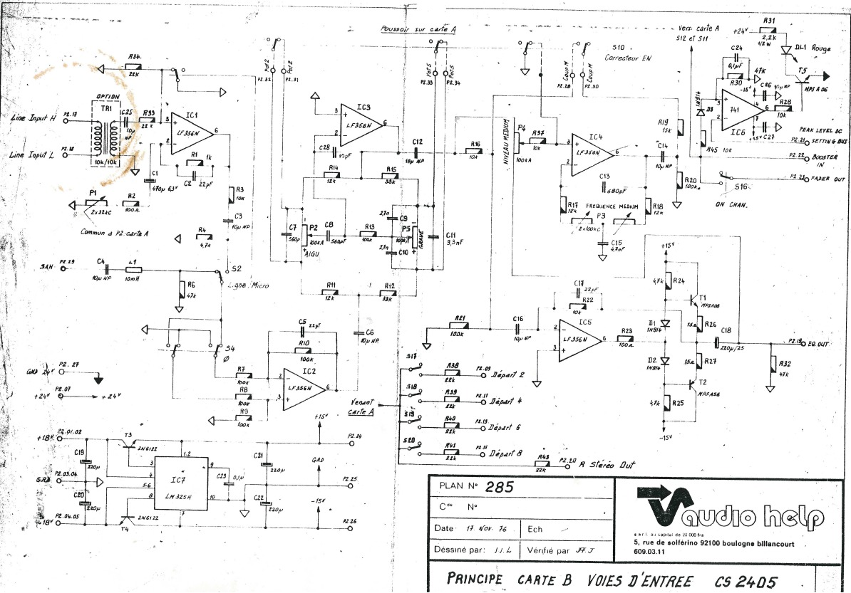 Input Module With Lf356s Advices Gearslutz Lm741 The 741 Op Amp Is Used As A Summing Amplifier To Combine Several 1 2