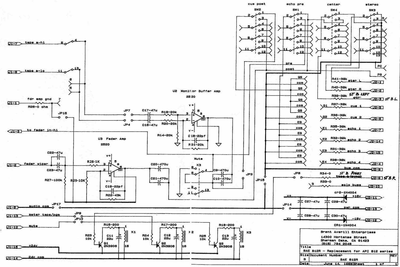 fader values needed for api discrete circuit