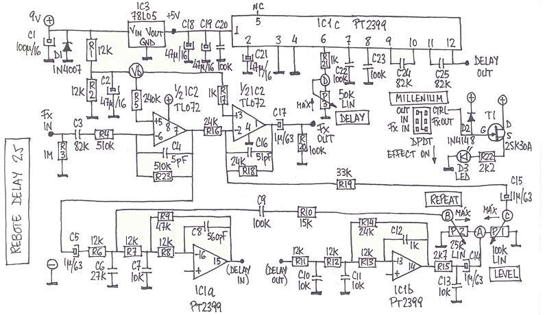 delay pedal schematic