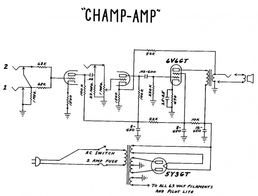 Add a line level input to a guitar amp - Gearz Fender Super Champ Schematic on