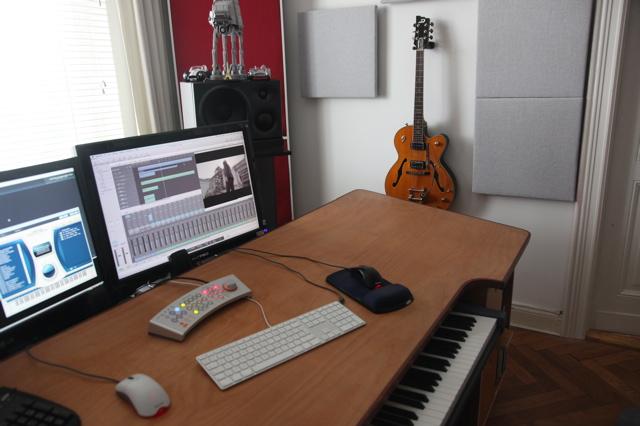 my custom built production desk with a sliding 88 key - Music Production Desk