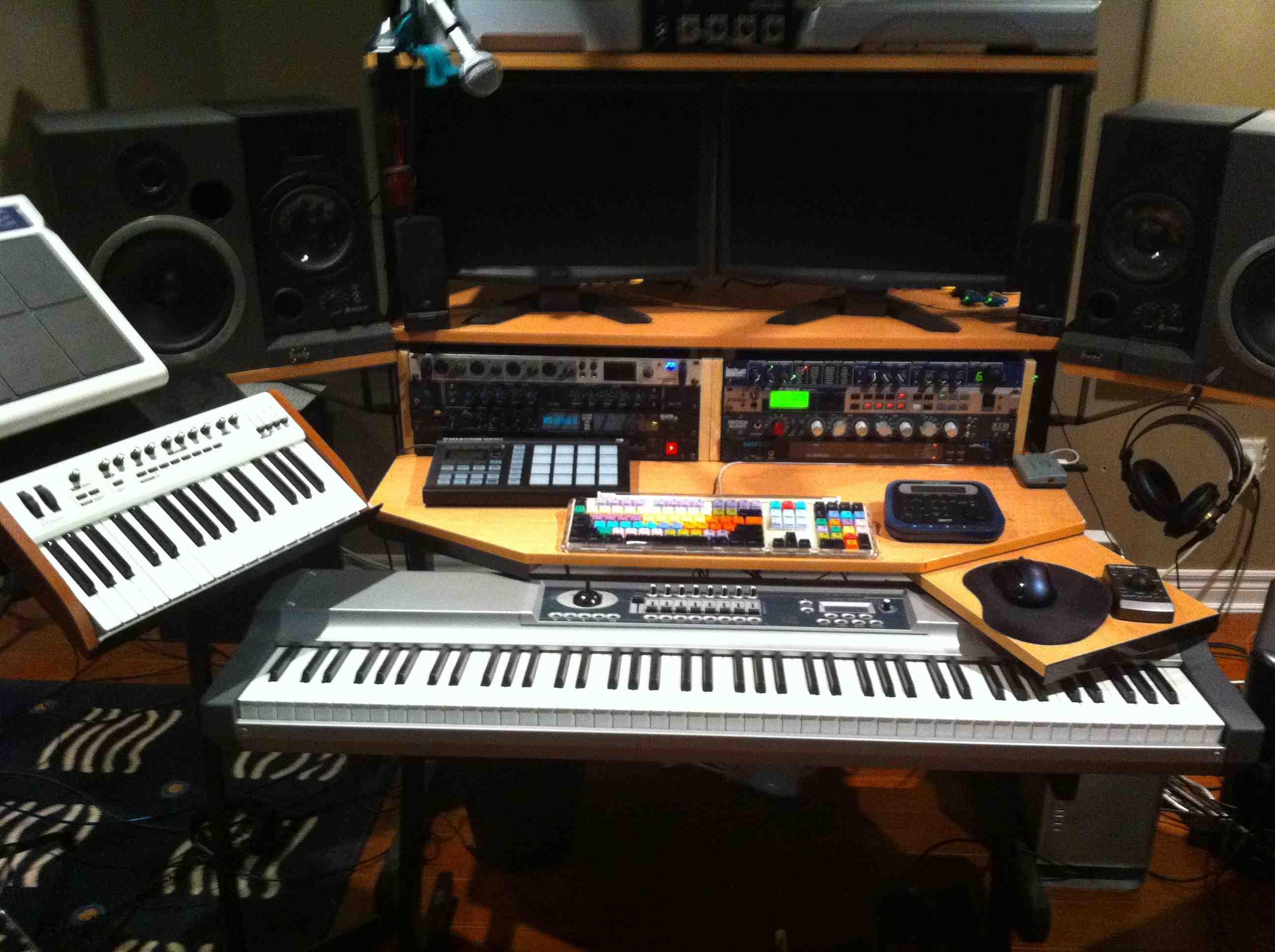 My custom built production desk with a sliding 88 key controller