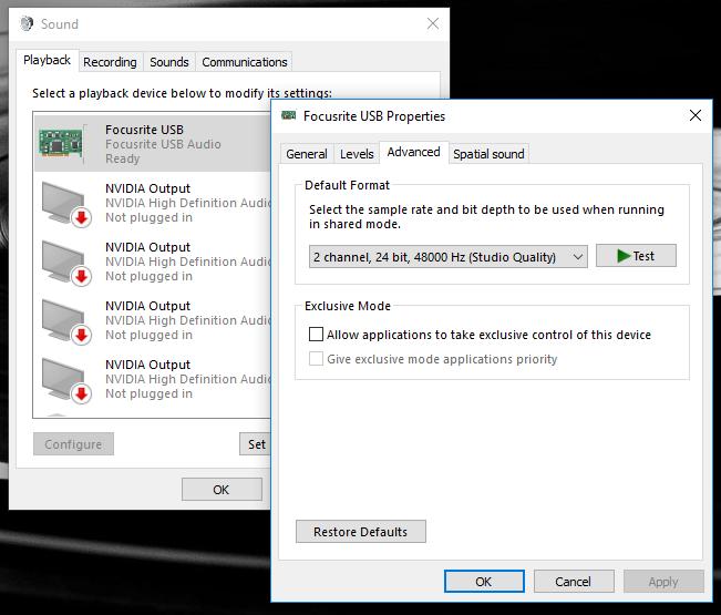 focusrite 2i4 drivers windows 10