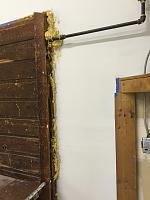 RV Garage - conversion to Recording Studio!-closeup-gasline-feeding-heater-wood.jpg