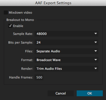 Need help advising editor how to export OMF / AAF from