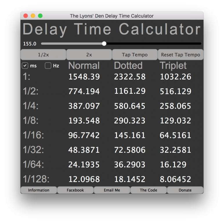 free standalone delay time calculator mac and windows delay time calculator