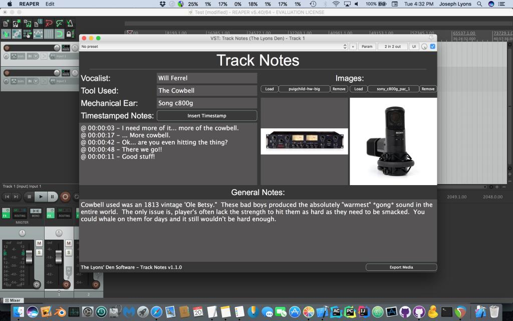 Track Notes by The Lyons Den Software (Windows VST/Mac AU