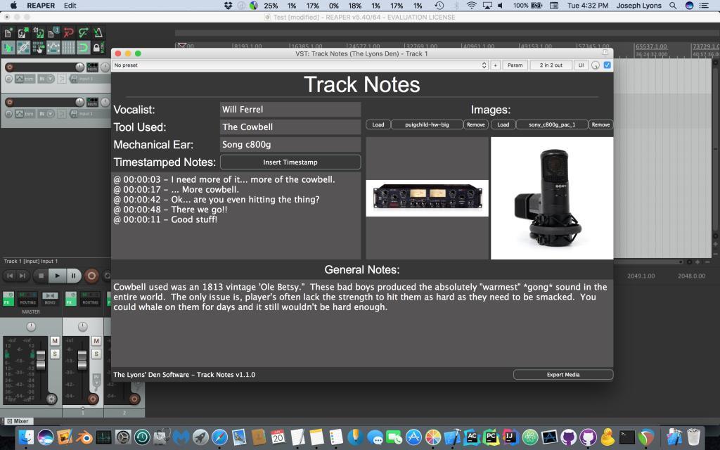 Track Notes by The Lyons Den Software (Windows VST/Mac AU, VST