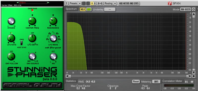Stunning Phaser VST/AU plug-in effect by Admiral Quality