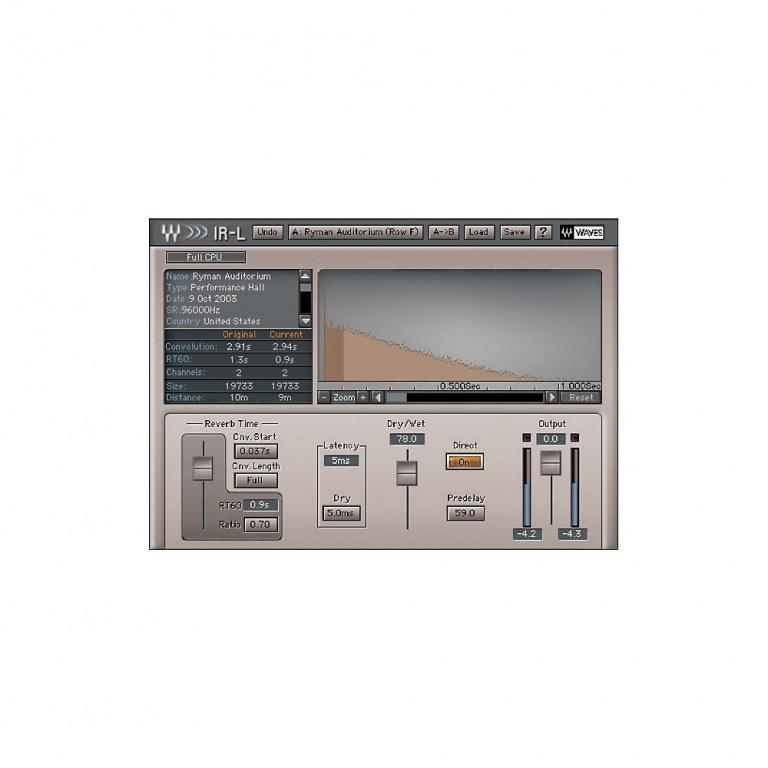 Waves Audio IR-1 Convolution Reverb