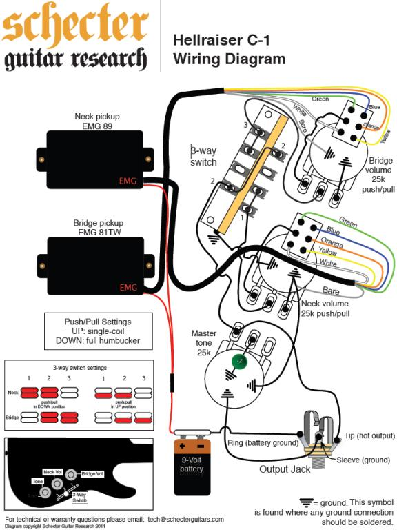 single pickup guitar wiring diagram for emg