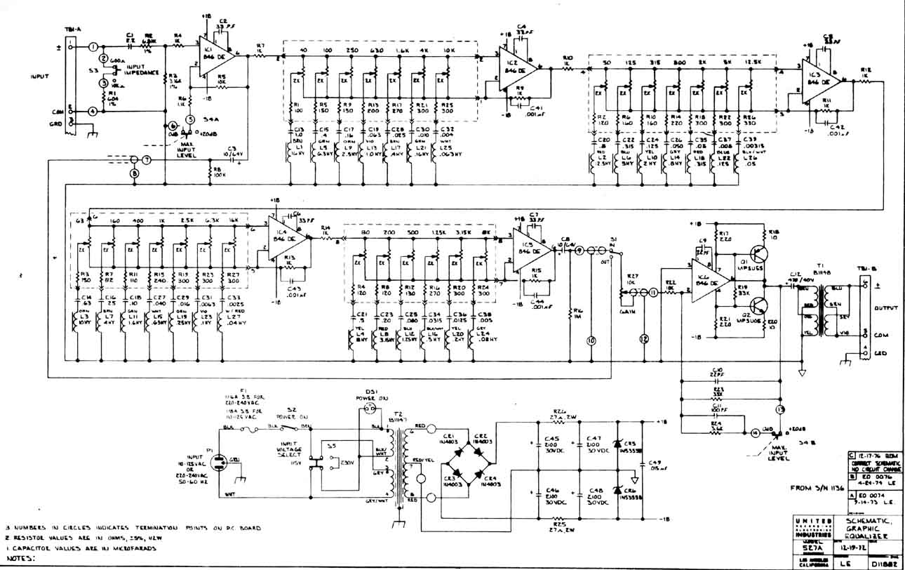 5 Band Equalizer Circuit Diagram Urei 527 A Gearslutz