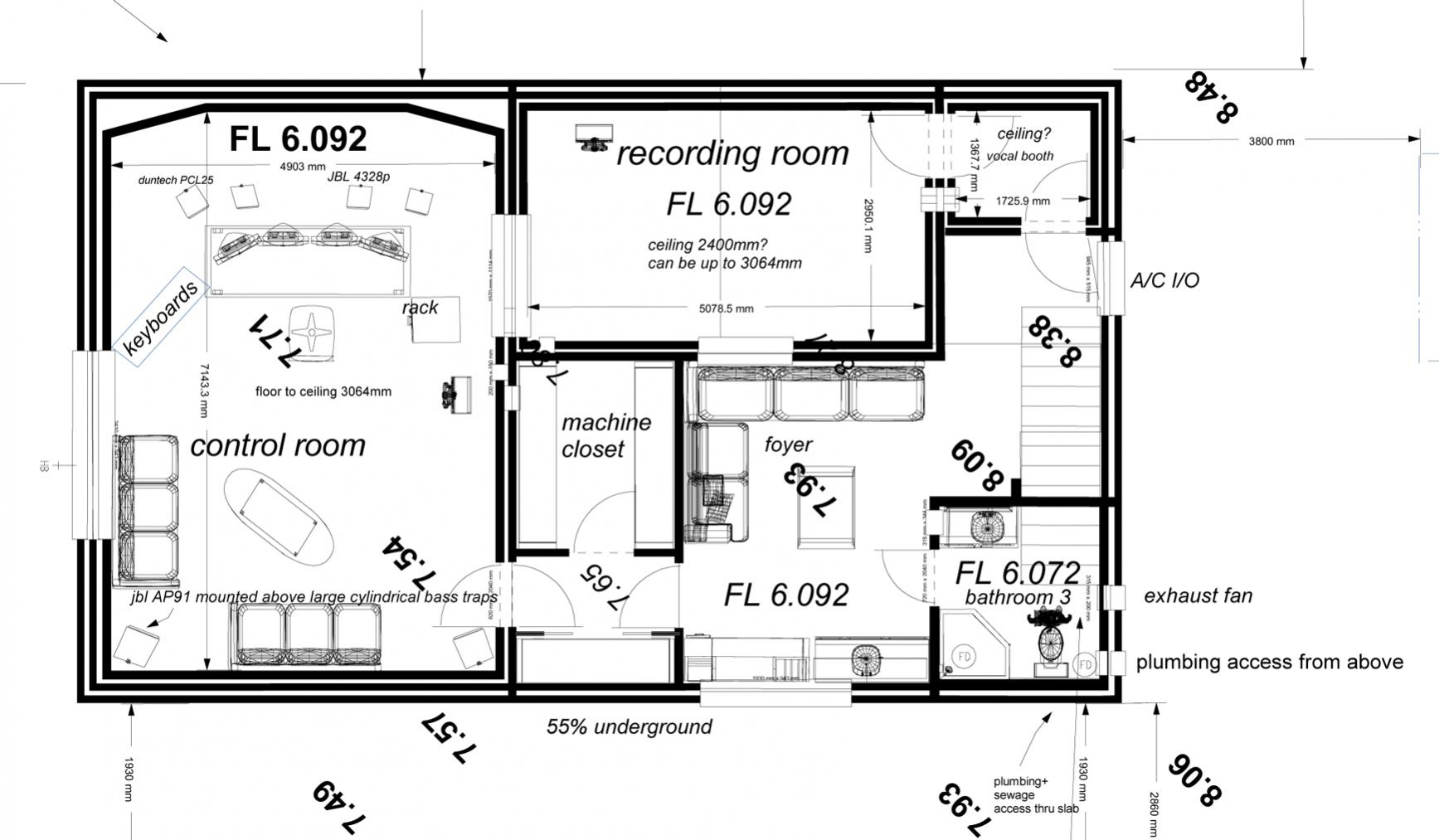 Finalizing basement plans gearslutz pro audio community for Basement planner online