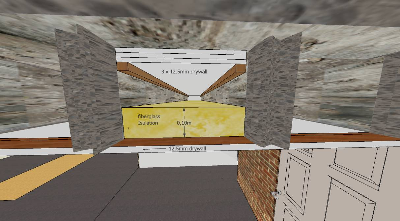small basement studio concrete ceiling