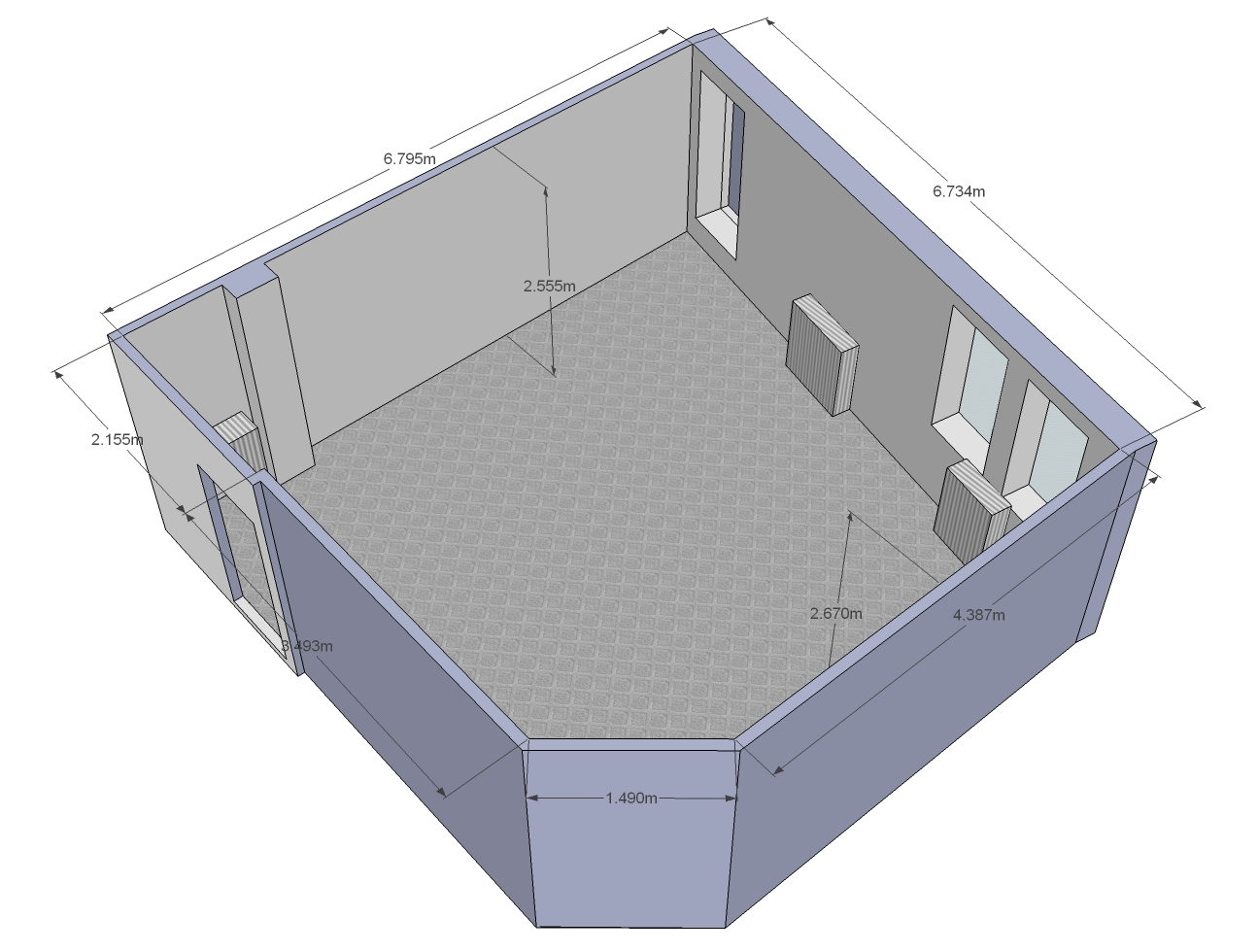 Need Help Treating An Oddly Shaped Room (3D Model Included) Office  ...
